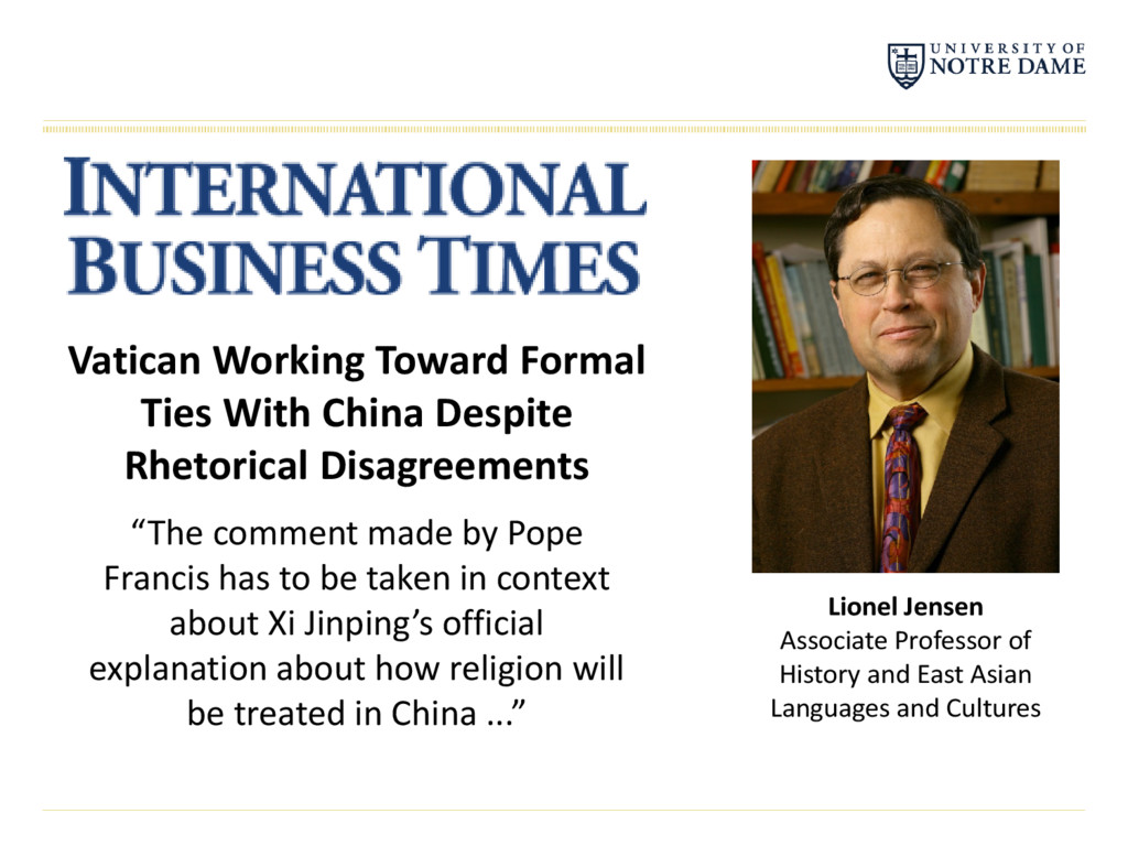 Vatican Working Toward Formal Ties With China D...