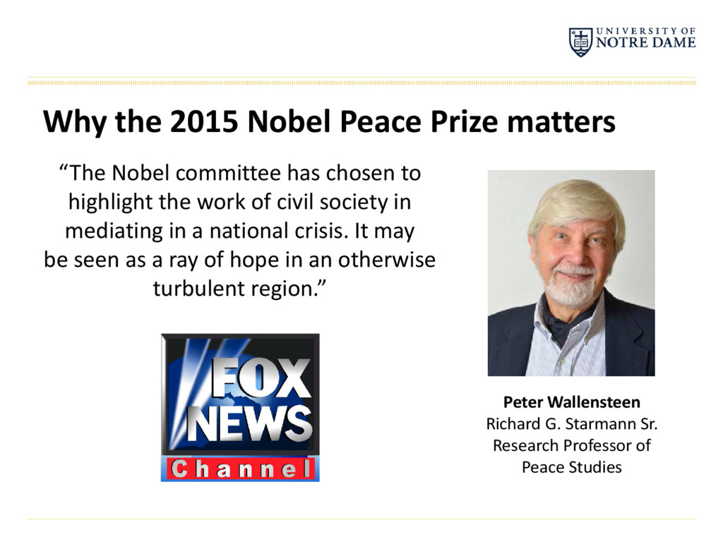 "Why the 2015 Nobel Peace Prize matters ""The Nob..."
