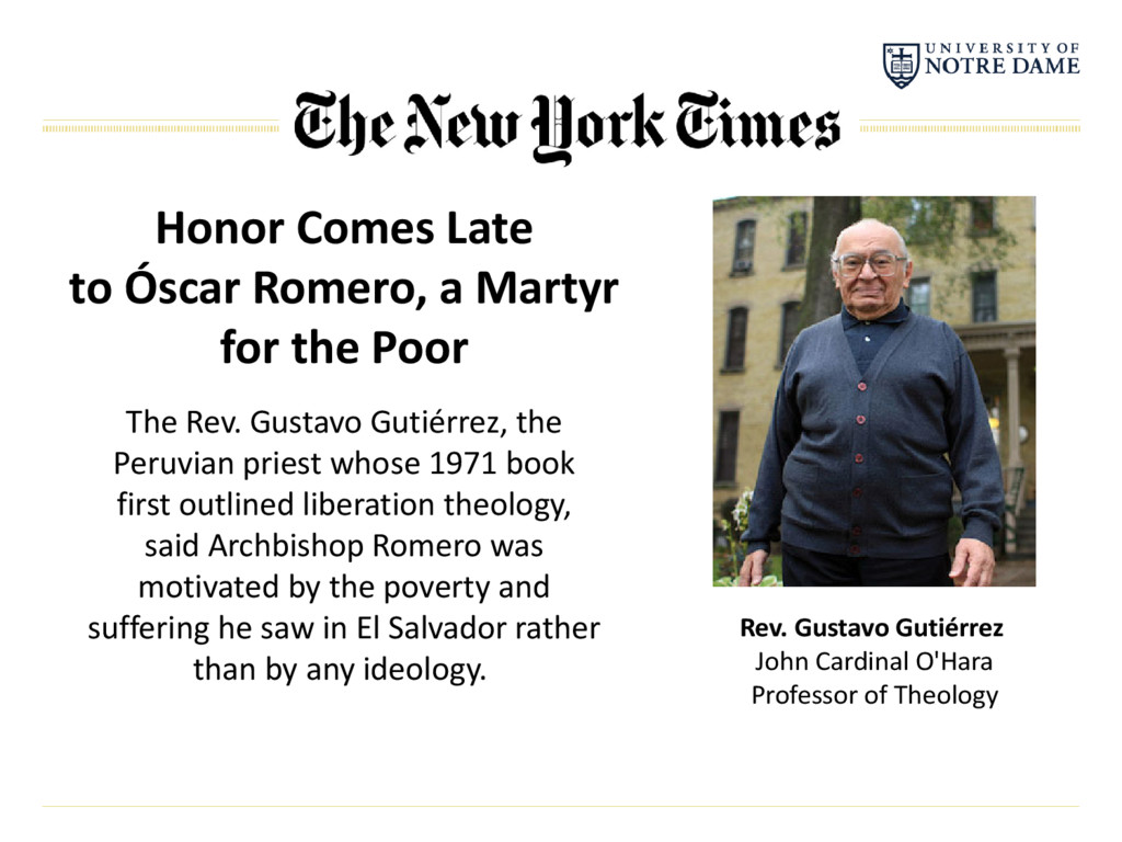 Honor Comes Late to Óscar Romero, a Martyr for ...