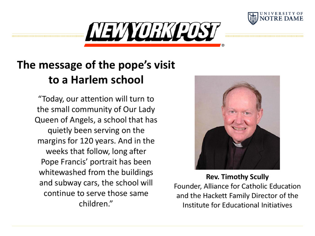 The message of the pope's visit to a Harlem sch...