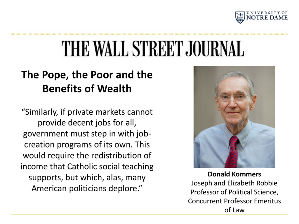 "The Pope, the Poor and the Benefits of Wealth ""..."