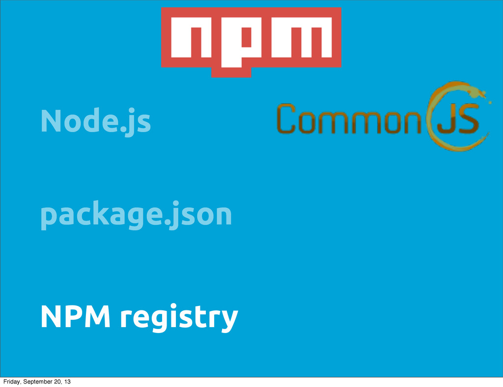 package.json NPM registry Node.js Friday, Septe...