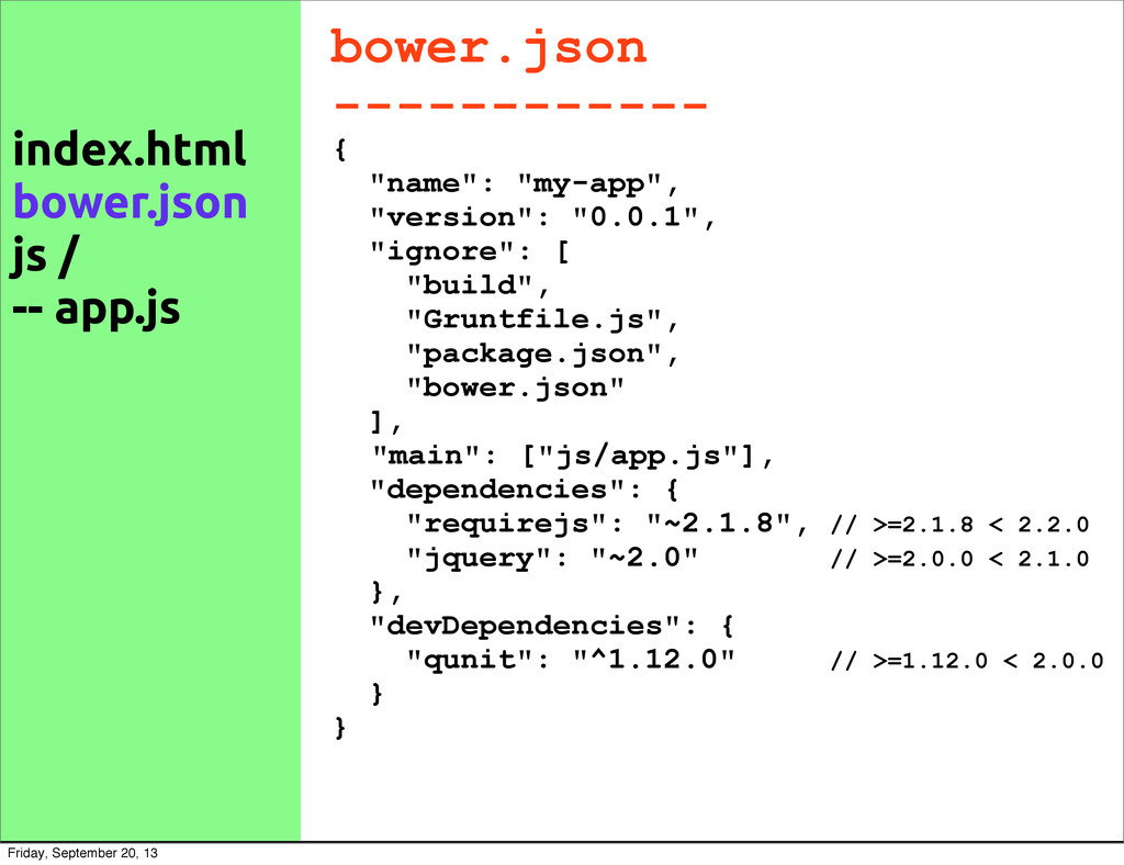 "bower.json ------------ { ""name"": ""my-app"", ""ve..."
