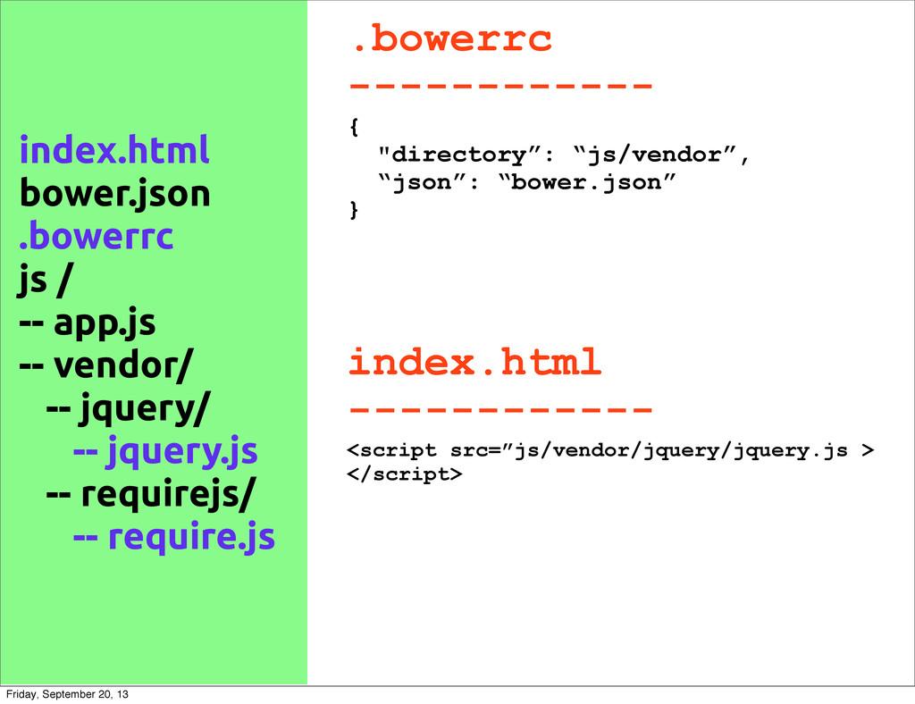 """.bowerrc ------------ { """"directory"""": """"js/vendor..."""