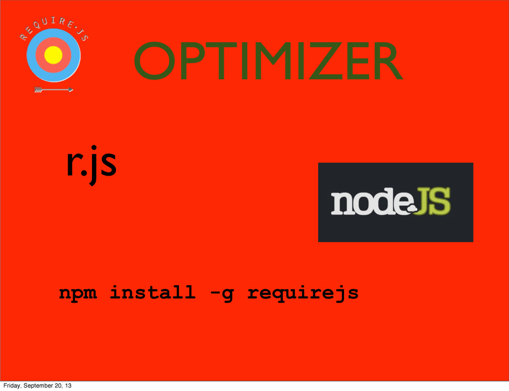 r.js npm install -g requirejs OPTIMIZER Friday,...
