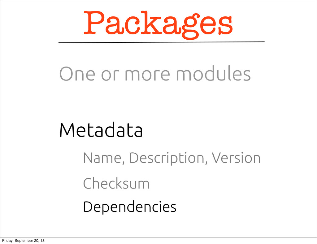Name, Description, Version Metadata Packages On...