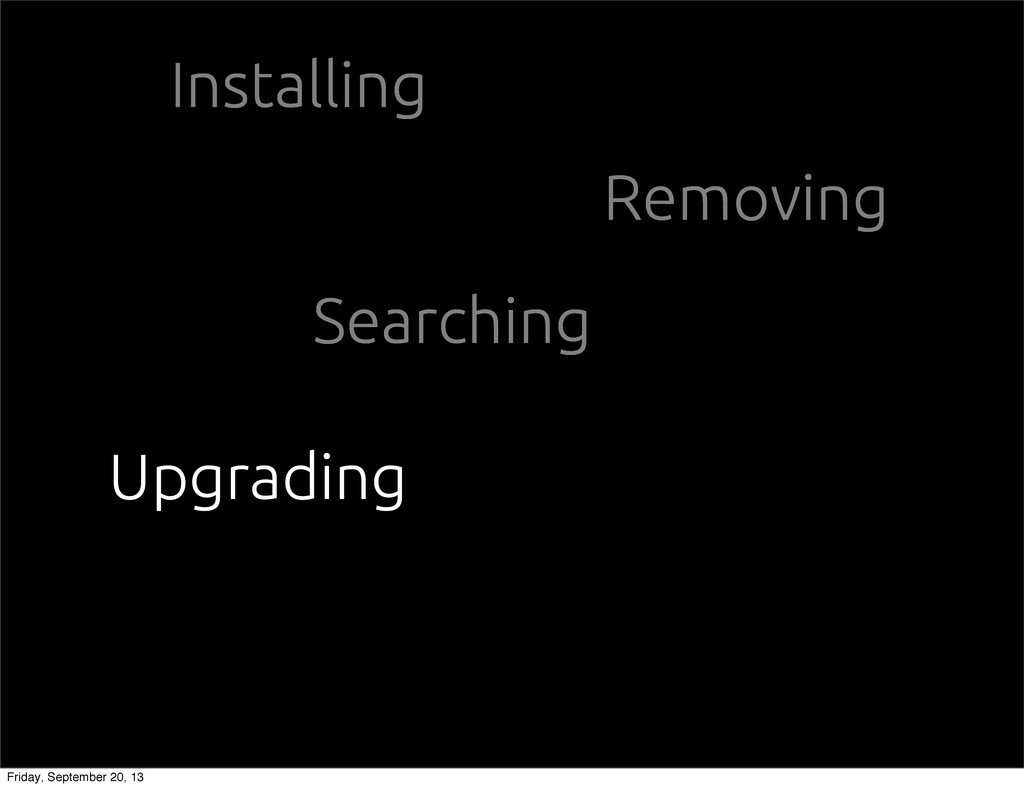 Installing Removing Searching Upgrading Friday,...