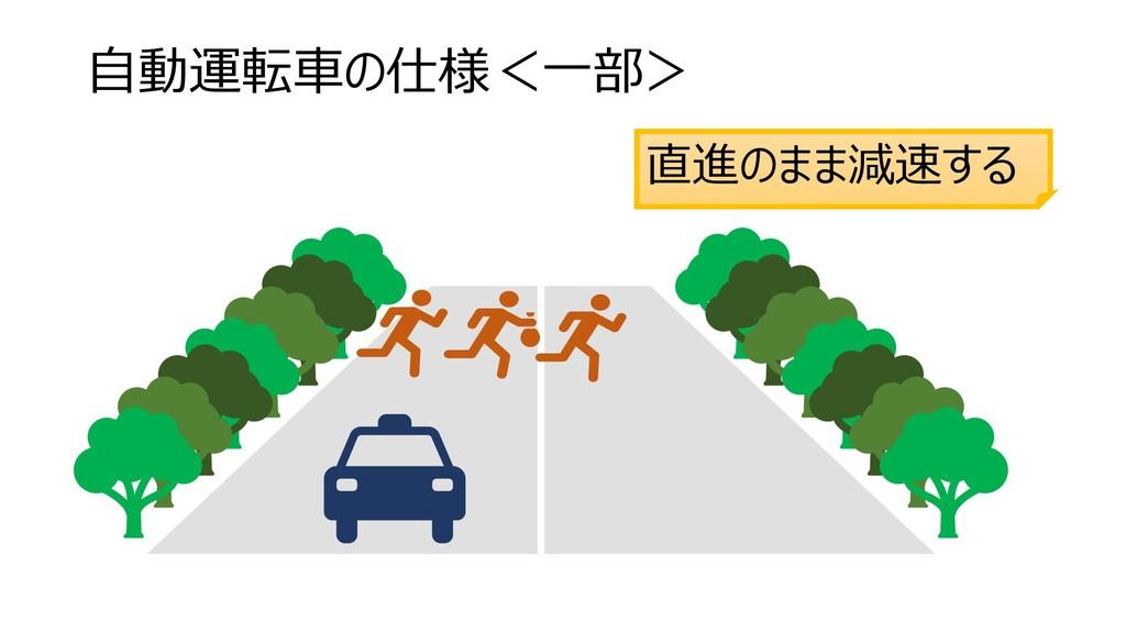 自動運転車の仕様<一部> 直進のまま減速する