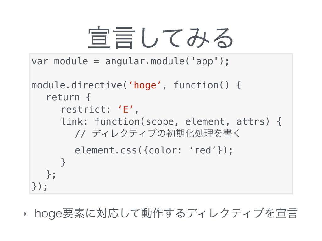 એݴͯ͠ΈΔ ‣ IPHFཁૉʹରԠͯ͠ಈ࡞͢ΔσΟϨΫςΟϒΛએݴ var module =...