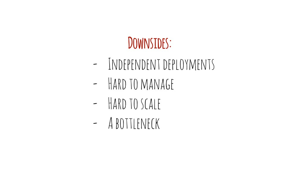 - Independent deployments - Hard to manage - Ha...
