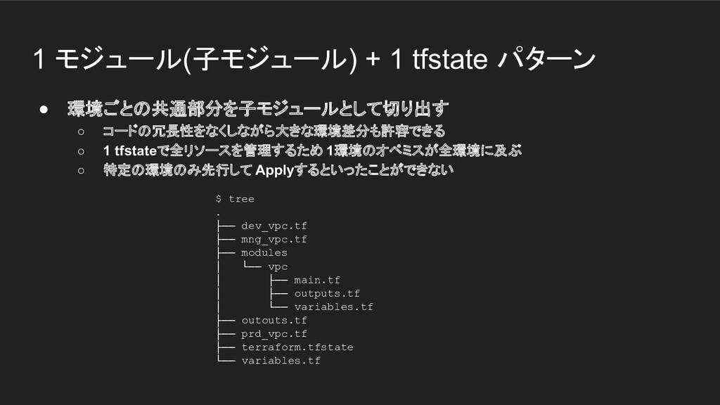 1 モジュール(子モジュール) + 1 tfstate パターン ● 環境ごとの共通部分を子モ...