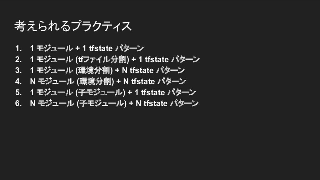 考えられるプラクティス 1. 1 モジュール + 1 tfstate パターン 2. 1 モジ...