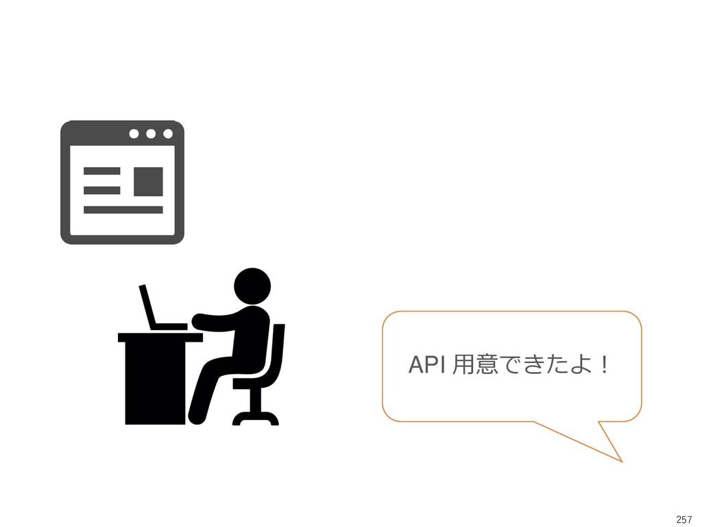 257 API 用意できたよ!