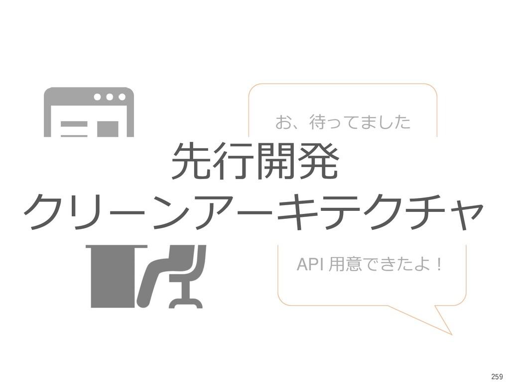 259 API 用意できたよ! お、待ってました 先行開発 クリーンアーキテクチャ