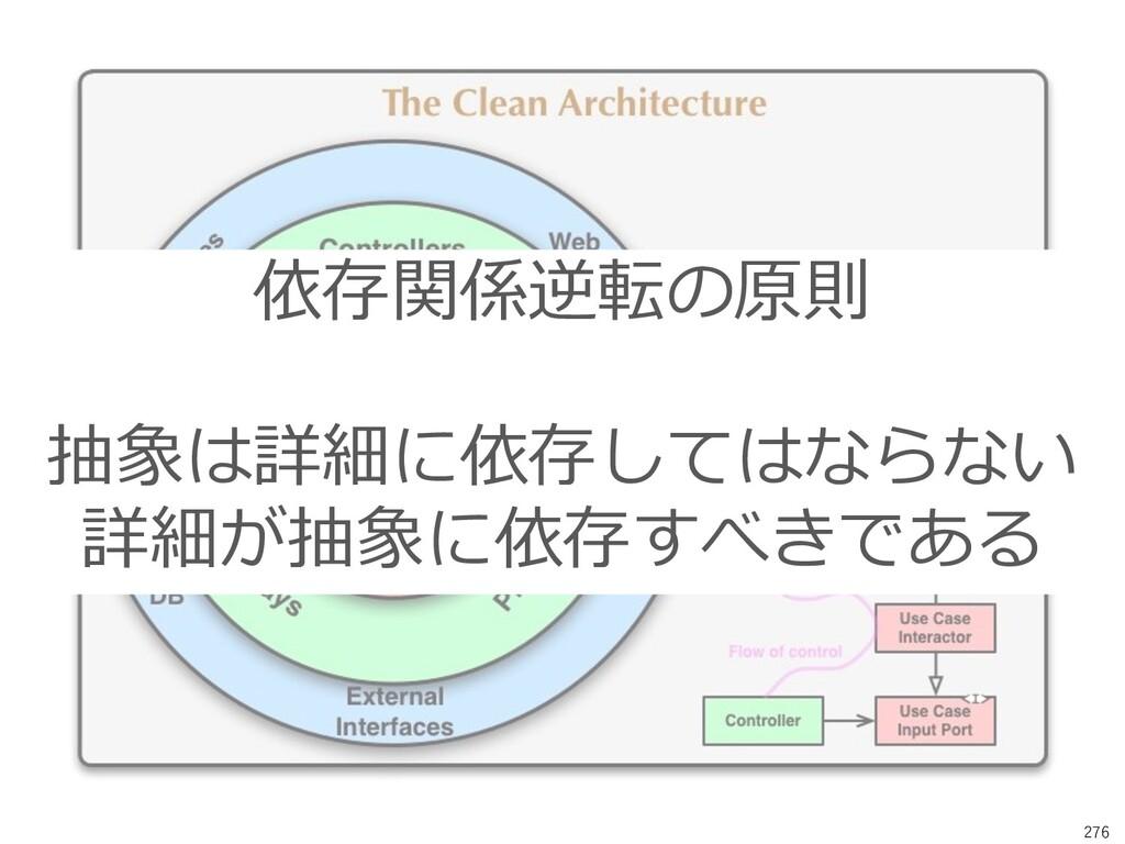 276 依存関係逆転の原則 抽象は詳細に依存してはならない 詳細が抽象に依存すべきである