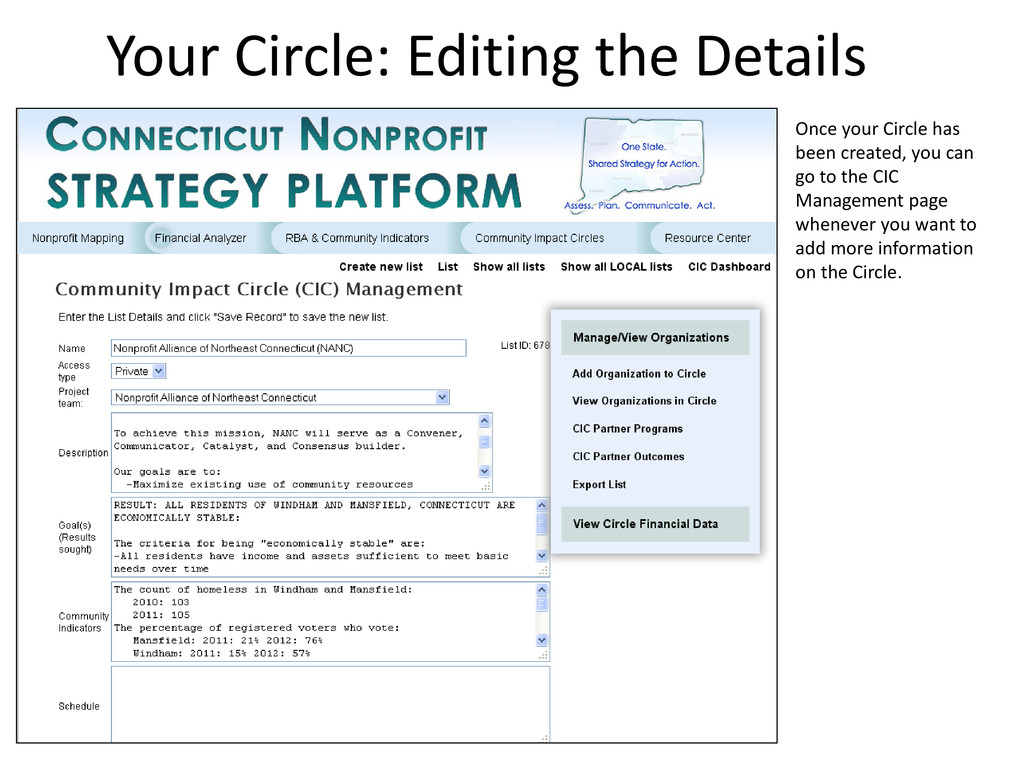 Your Circle: Editing the Details Once your Circ...
