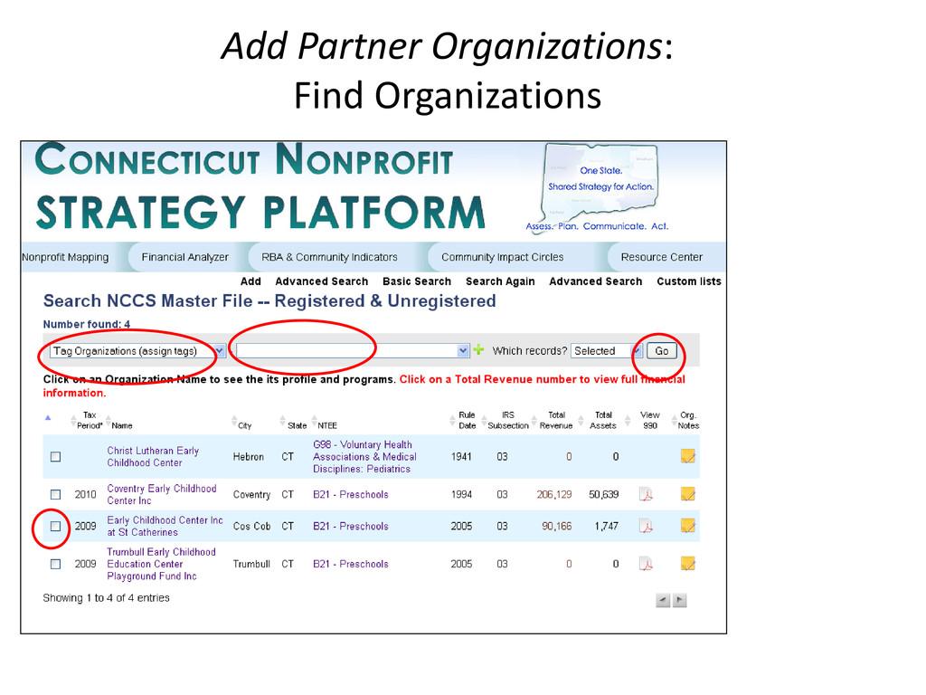 Add Partner Organizations: Find Organizations