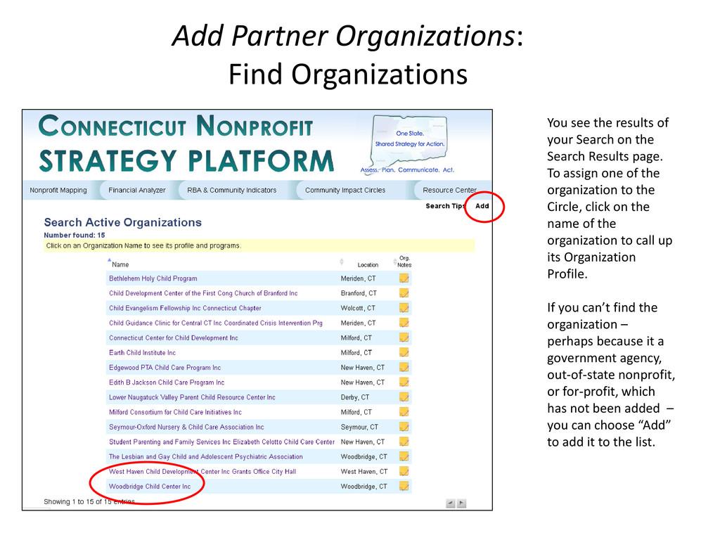 Add Partner Organizations: Find Organizations Y...