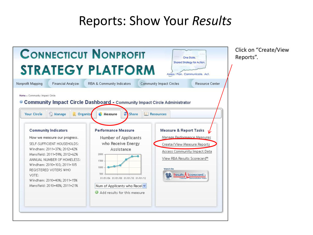 """Reports: Show Your Results Click on """"Create/Vie..."""