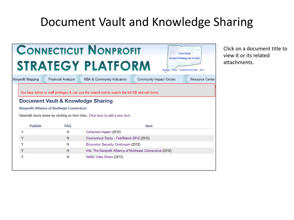 Document Vault and Knowledge Sharing Click on a...