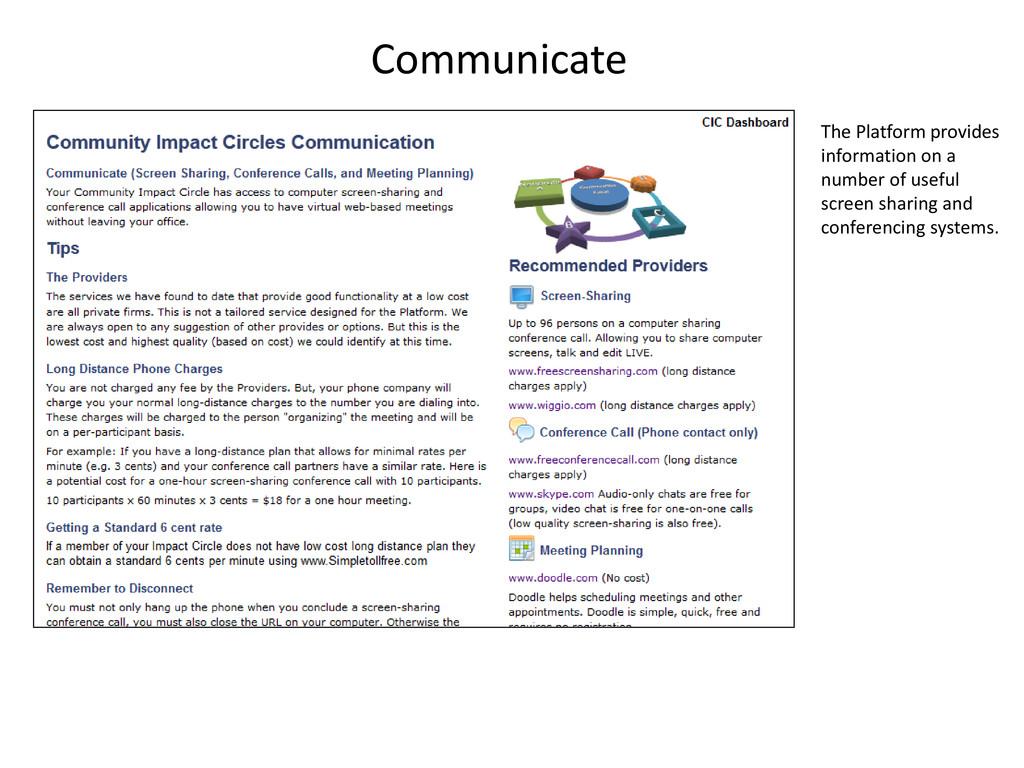 Communicate The Platform provides information o...