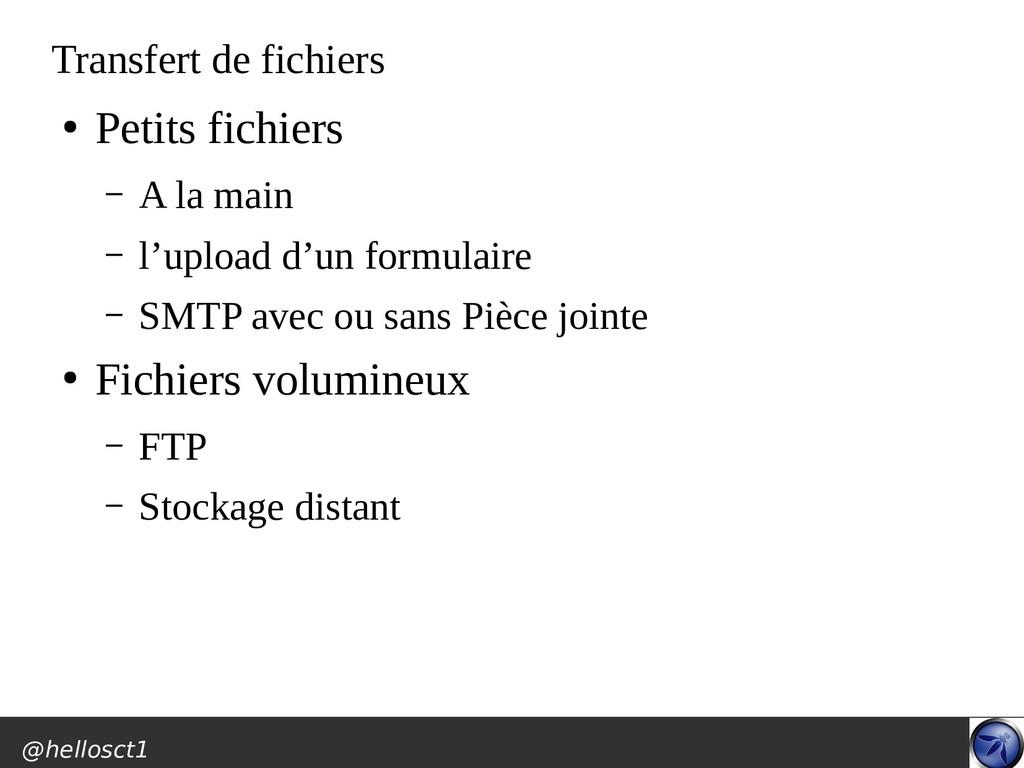 @hellosct1 Transfert de fichiers ● Petits fichi...