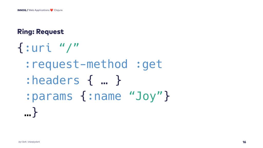"""16 {:uri """"/"""" :request-method :get :headers { … ..."""