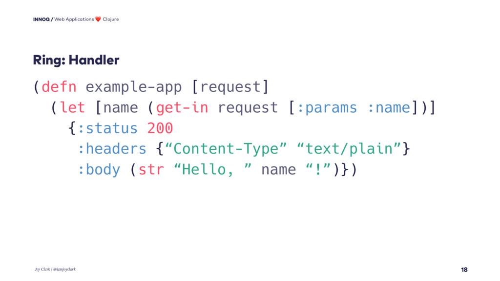 18 (defn example-app [request] (let [name (get-...