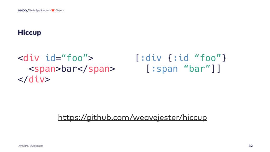 "Hiccup 32 <div id=""foo""> <span>bar</span> </div..."