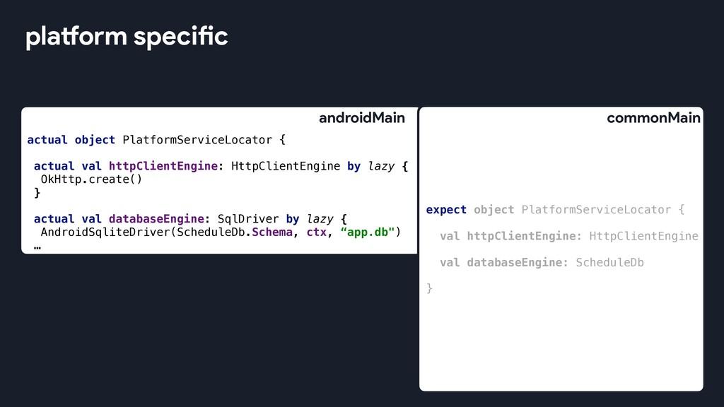 platform specific expect object PlatformService...