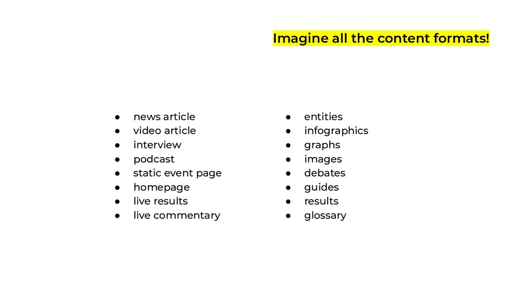 Imagine all the content formats! ● news article...