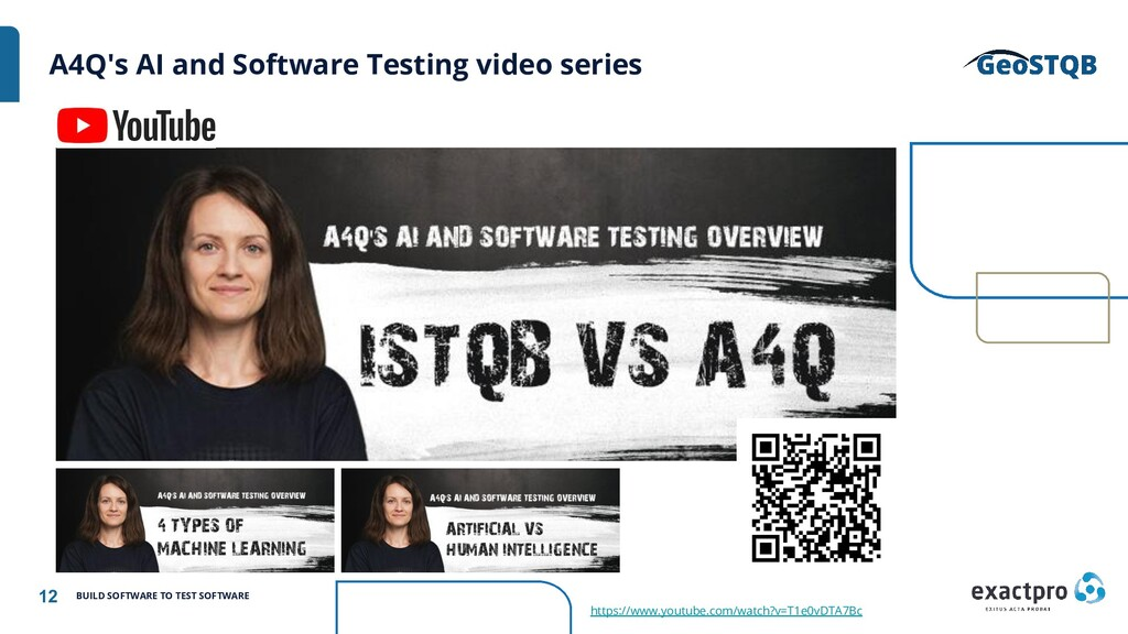 12 BUILD SOFTWARE TO TEST SOFTWARE A4Q's AI and...
