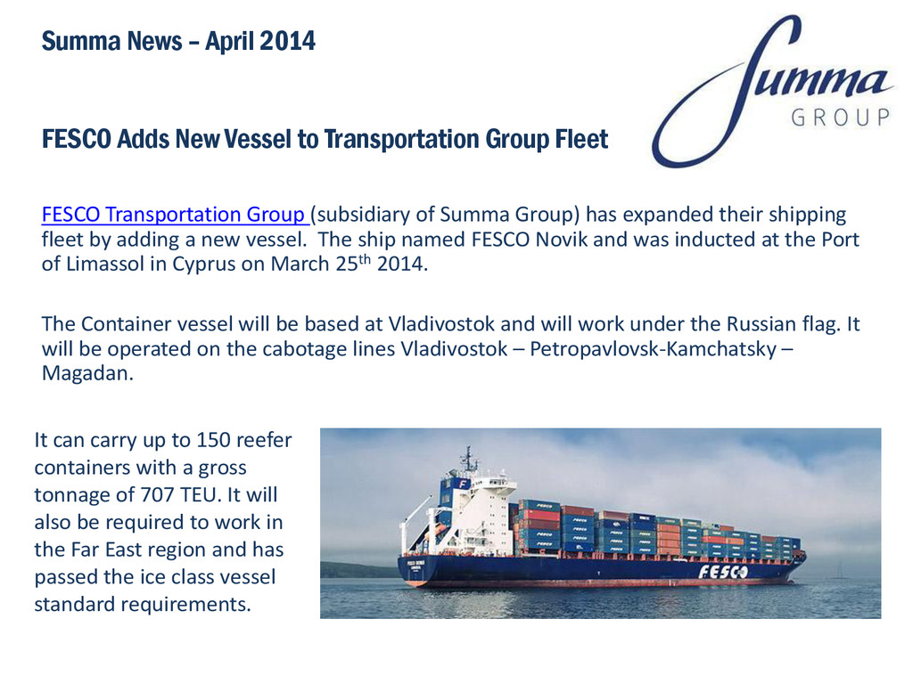 FESCO Adds New Vessel to Transportation Group F...