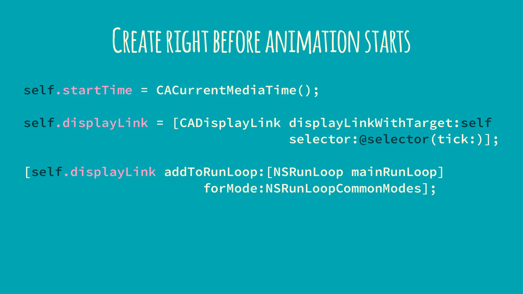 Create right before animation starts self.start...