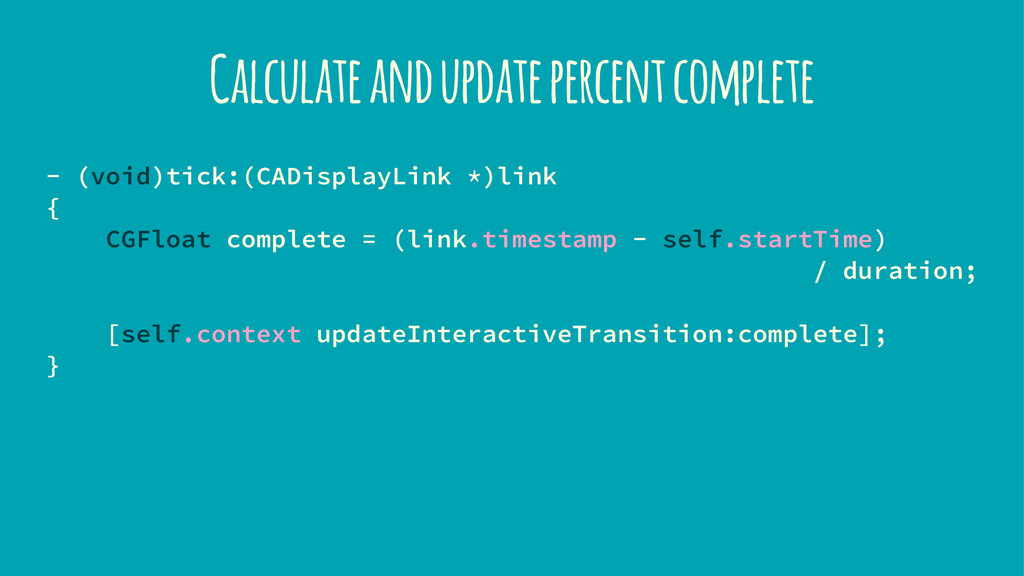 Calculate and update percent complete - (void)t...