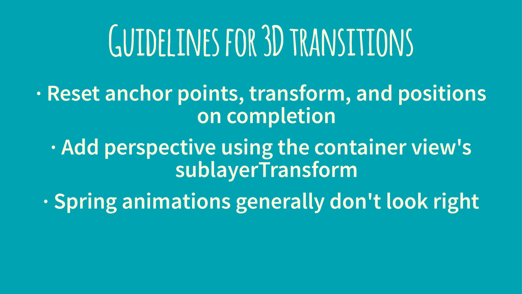 Guidelines for 3D transitions · Reset anchor po...
