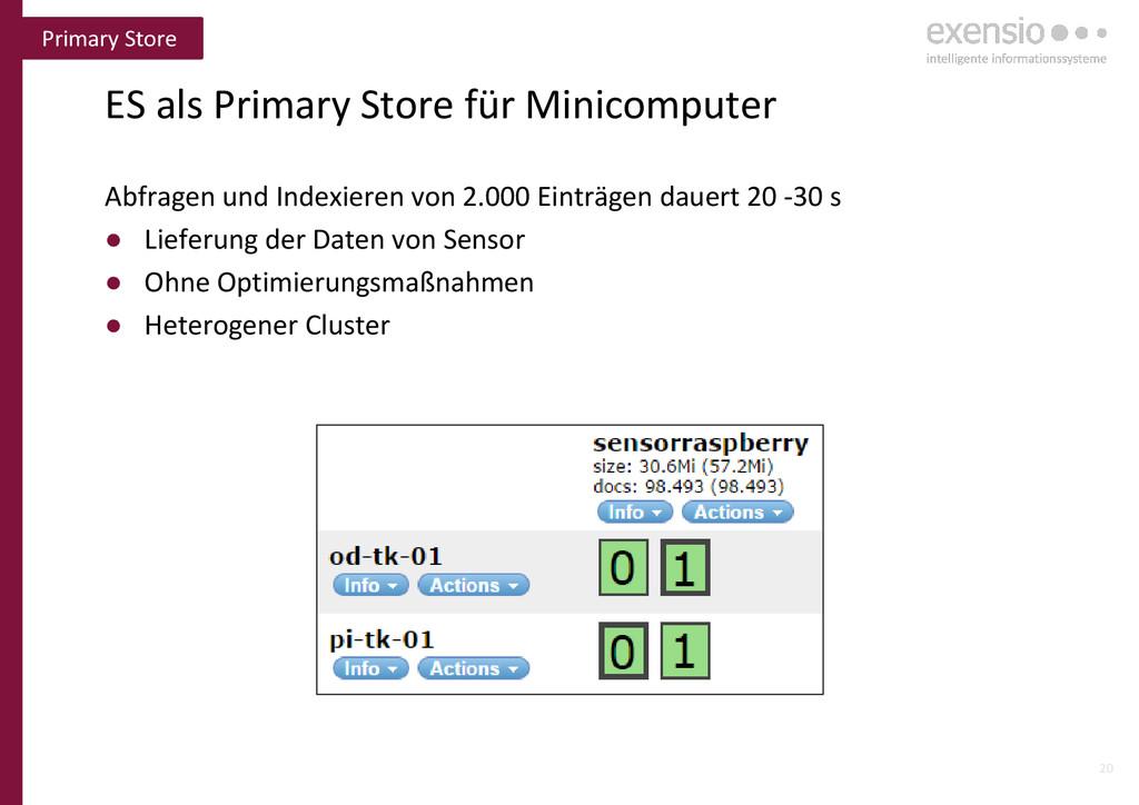20 ES als Primary Store für Minicomputer Abfrag...