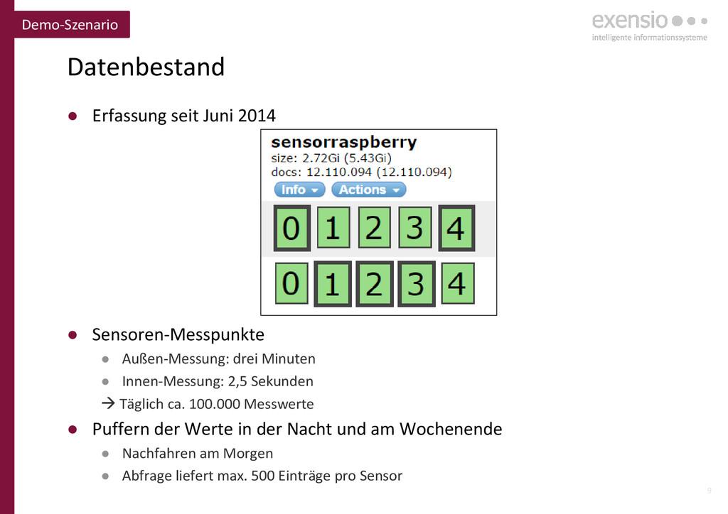 9 Datenbestand ● Erfassung seit Juni 2014 ● Sen...