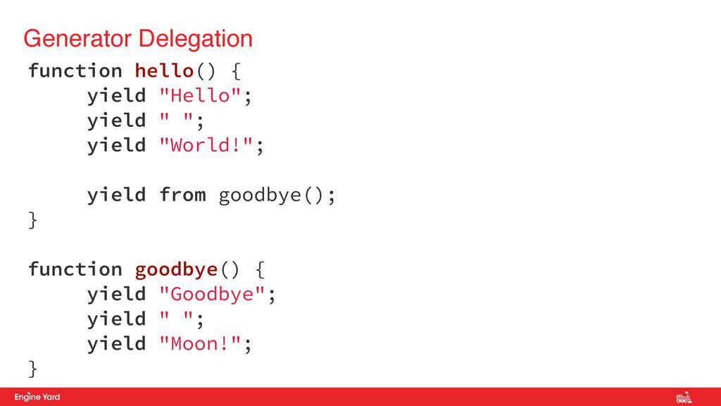 "Generator Delegation function hello() { yield ""..."