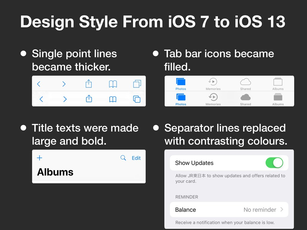 Design Style From iOS 7 to iOS 13 • Single poin...