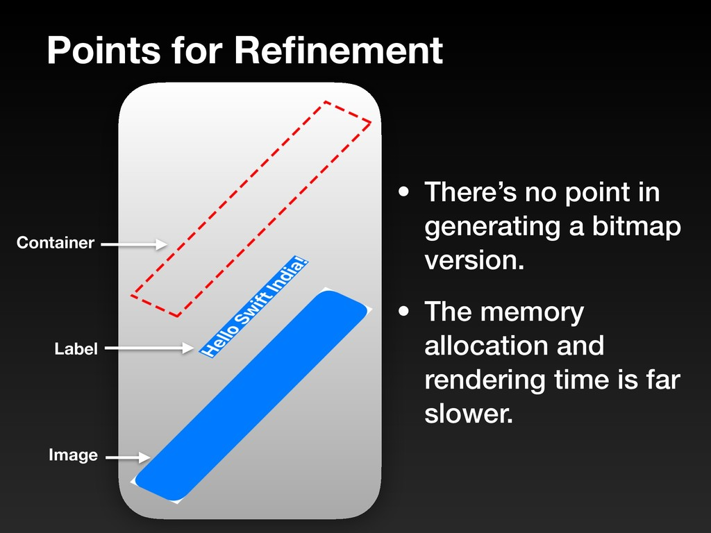 Points for Refinement • There's no point in gene...