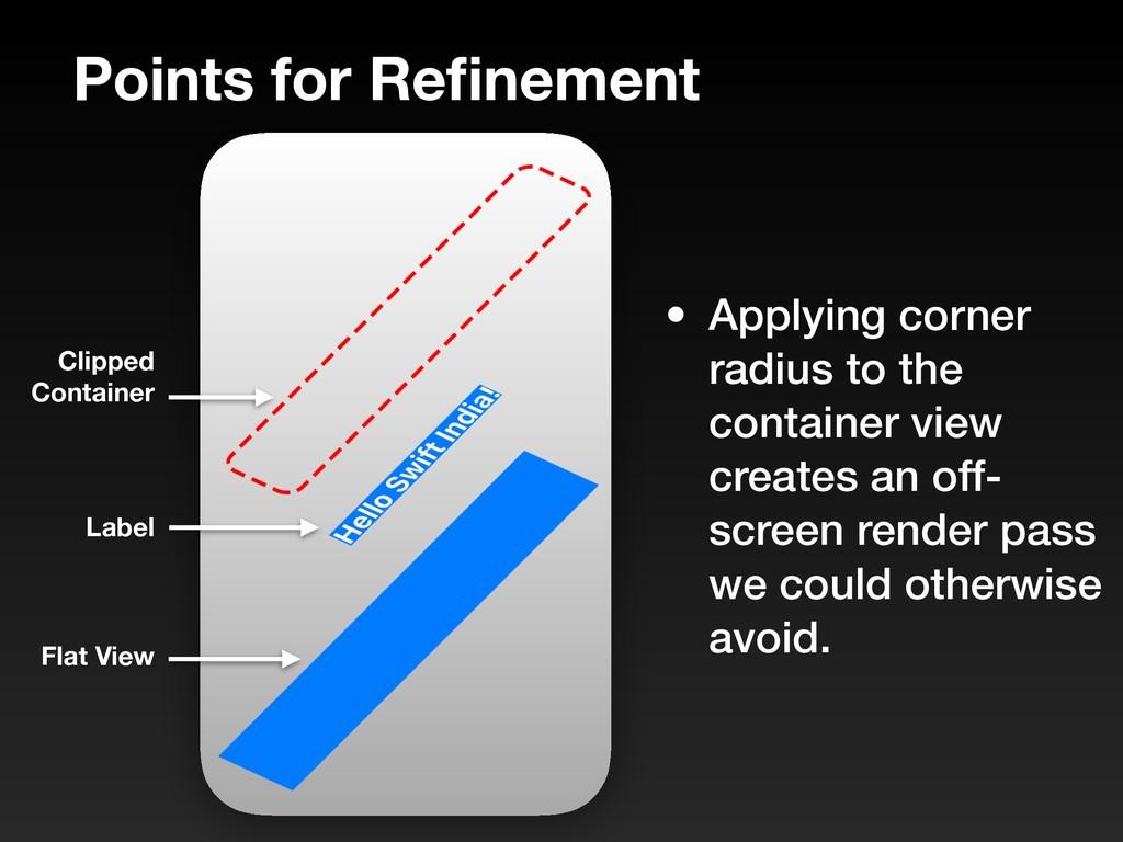 Points for Refinement • Applying corner radius t...