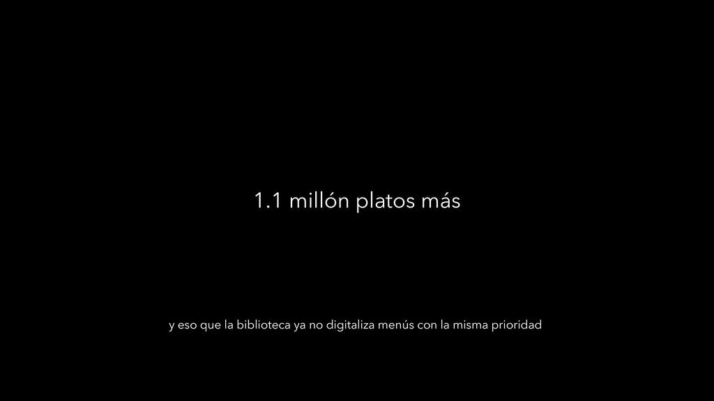 1.1 millón platos más y eso que la biblioteca y...