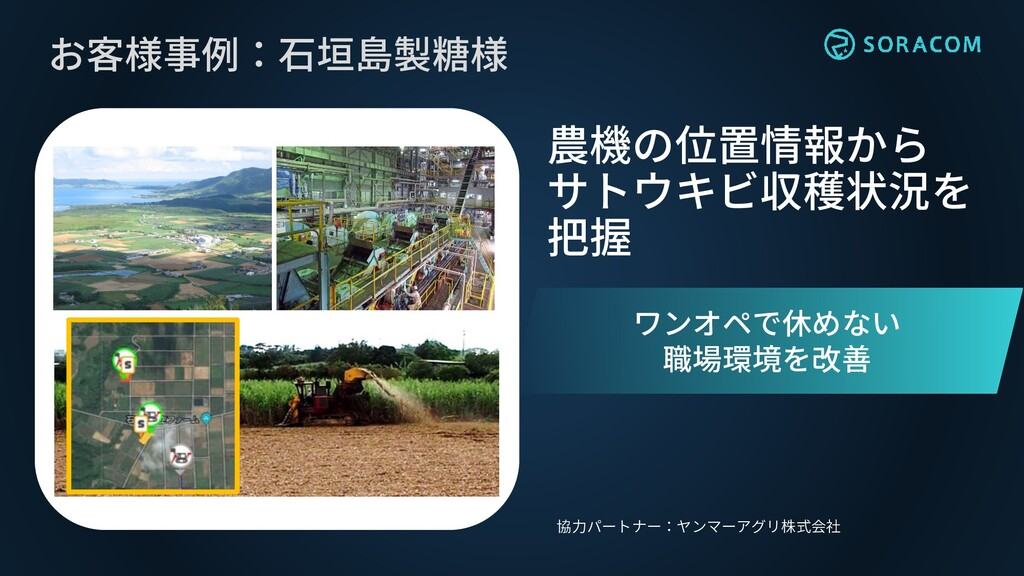 お客様事例:石垣島製糖様 農機の位置情報から サトウキビ収穫状況を 把握 協力パートナー:ヤン...