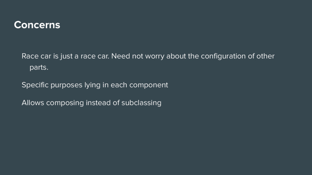 Concerns Race car is just a race car. Need not ...