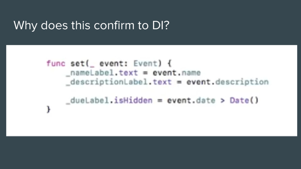 Why does this confirm to DI?
