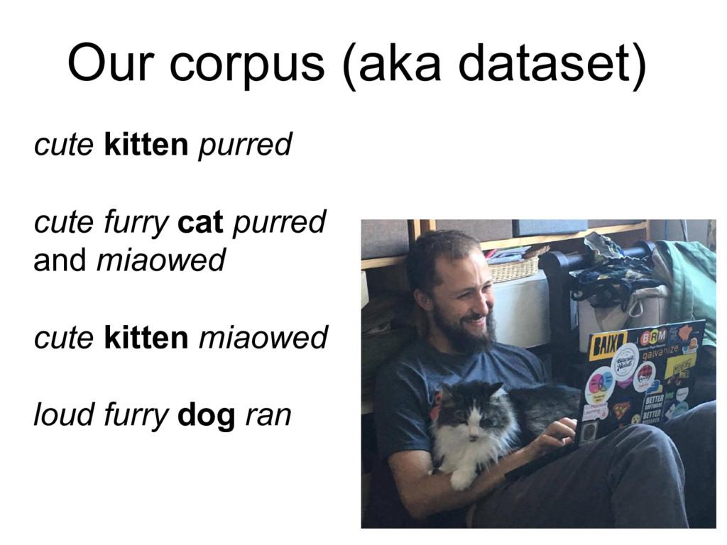 Our corpus (aka dataset) cute kitten purred cut...