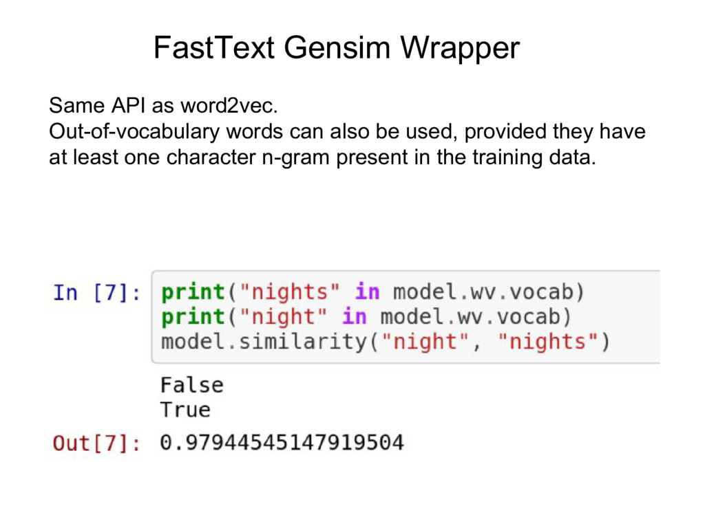 Same API as word2vec. Out-of-vocabulary words c...