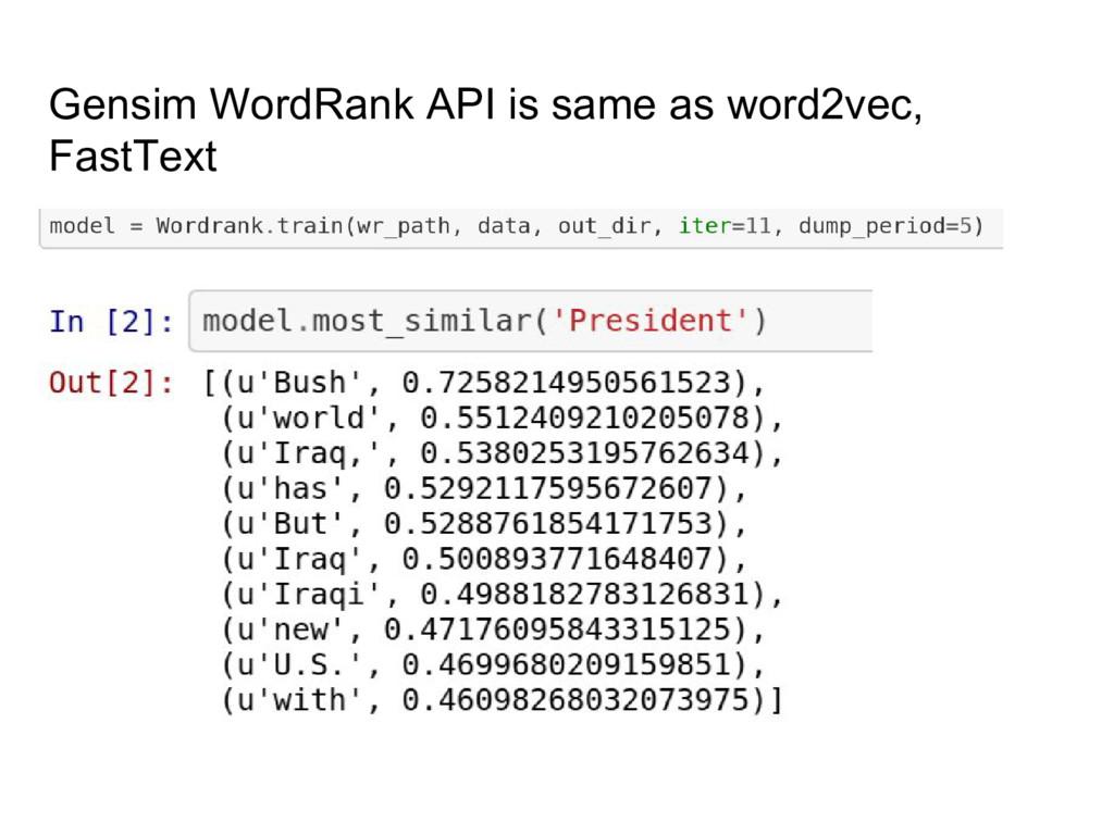 Gensim WordRank API is same as word2vec, FastTe...