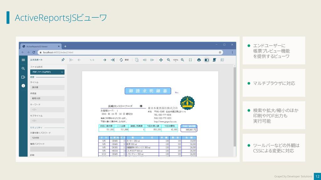 ActiveReportsJSビューワ 12 GrapeCity Developer Solu...